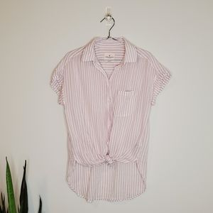 American Eagle Striped Casual Button Up Blouse